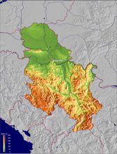 塞尔维亚地形图