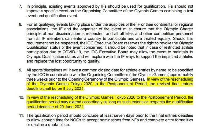 东京奥运资格赛截止日期确定:2021年6月29日前完成