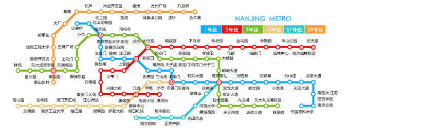 南京地铁线路图(截至2016年11月)