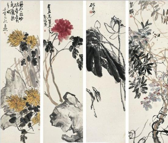 花卉四屏图