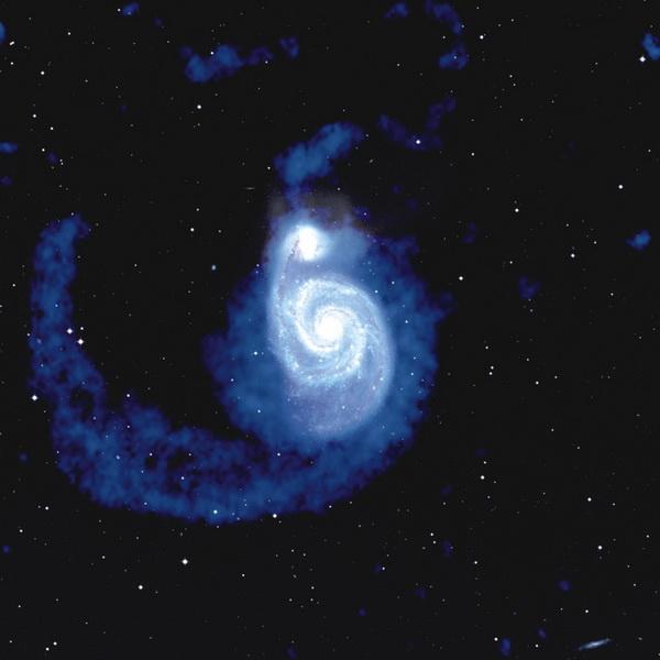 图1:旋涡星系M51,中性氢成图(深蓝色)叠加在光学图像(颜色偏白的部分是M51的光学图像,图中的白点是前景恒星)上  来源:NRAO/AUI and Juan M. Uson, NRAO