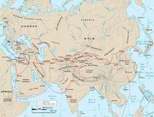 古代陆上和海上丝绸之路路线图