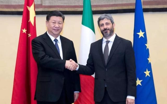 2019年3月22日,国家主席习近平在罗马会见意大利众议长菲科。